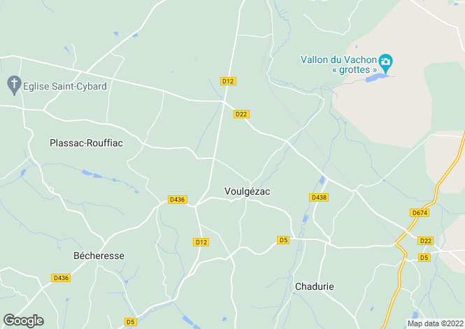 Map for voulgezac, Charente, France