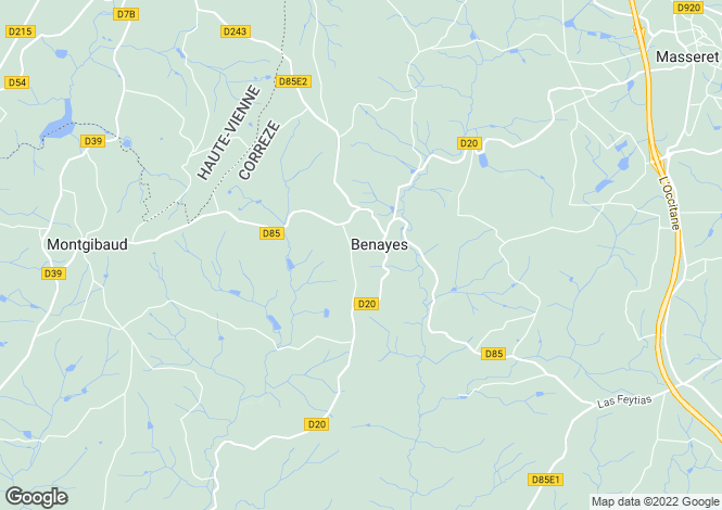 Map for benayes, Corrèze, France