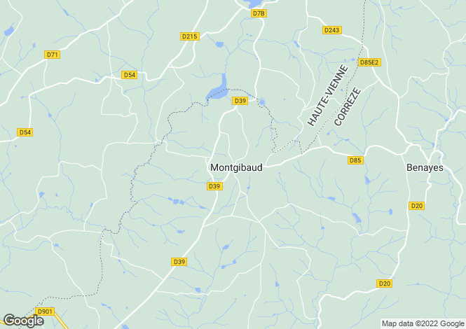 Map for montgibaud, Corrèze, France