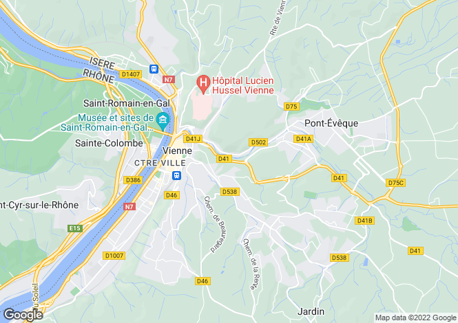 Map for vienne, Isère, France
