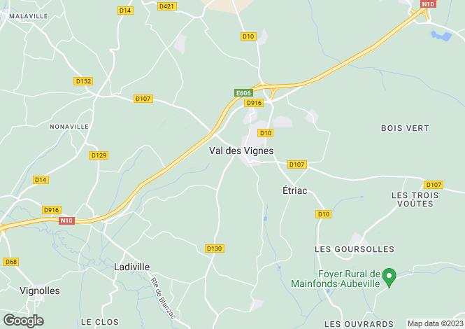 Map for Poitou-Charentes, Charente, Jurignac
