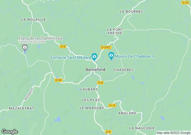 Map for Limousin, Corrèze, Bonnefond