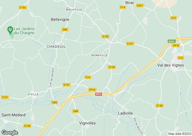 Map for Poitou-Charentes, Charente, Nonaville