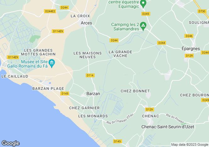 Map for barzan, Charente-Maritime, France