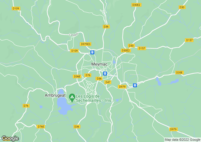 Map for Meymac, Corrèze, Limousin