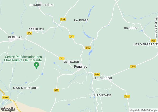 Map for Poitou-Charentes, Charente, Rougnac