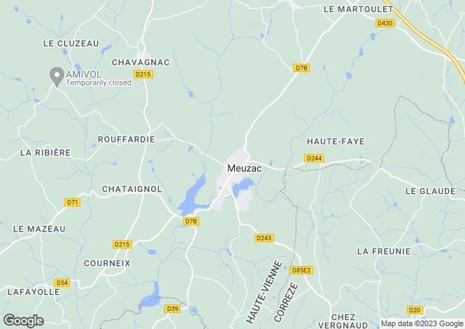 Map for Limousin, Haute-Vienne, Meuzac