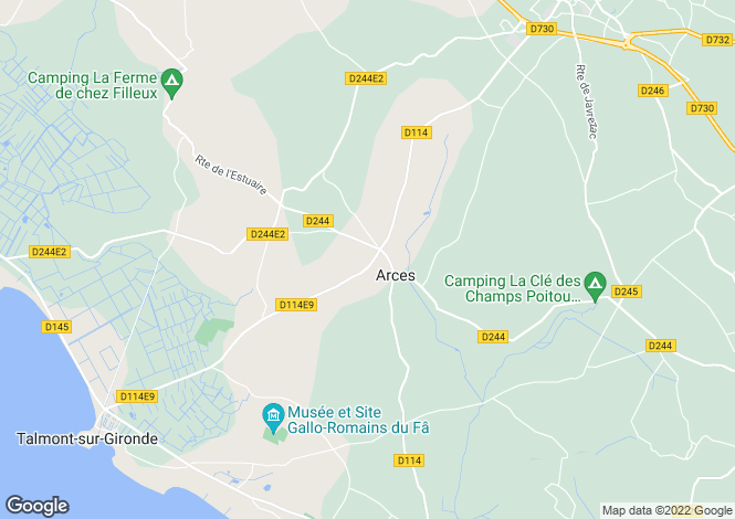 Map for arces, Charente-Maritime, France