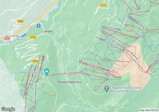 Map for Rhone Alps, Savoie