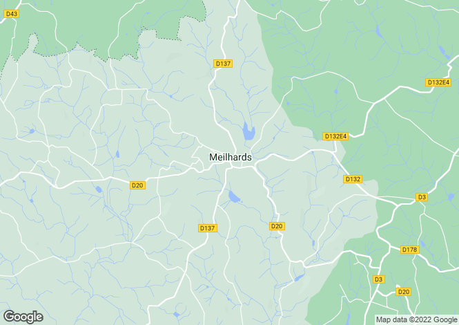 Map for Limousin, Corrèze, Meilhards