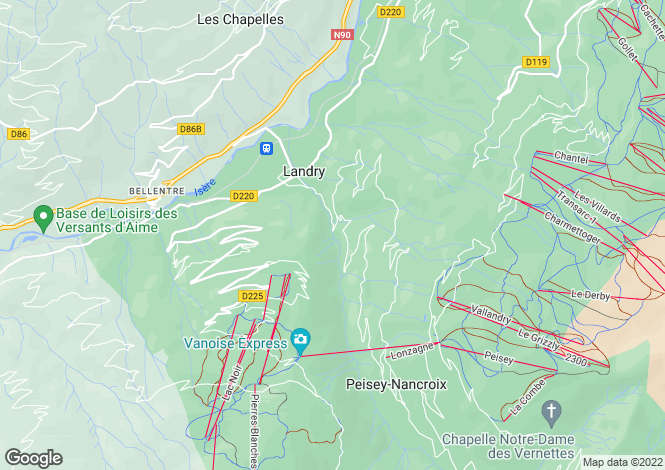 Map for landry, Savoie, France