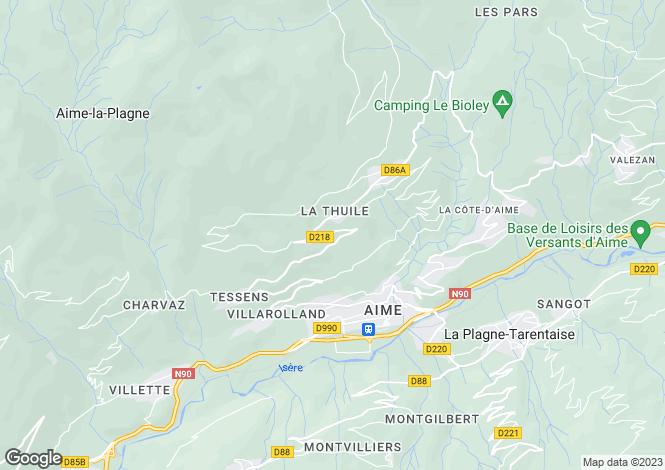 Map for Aime, Savoie, Rhone Alps