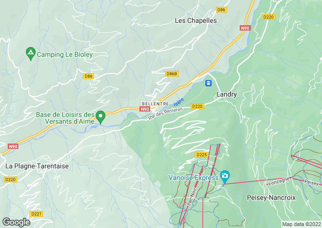Map for Bellentre, Savoie, Rhone Alps