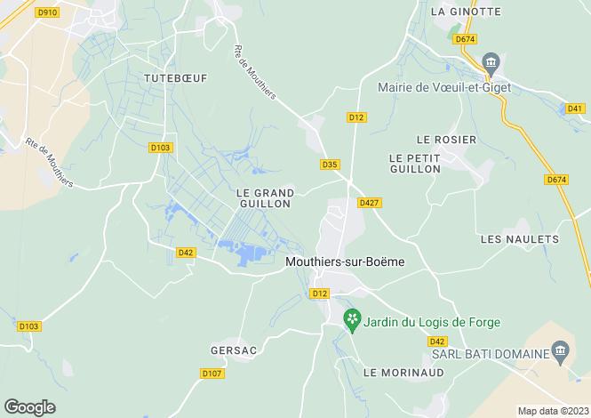 Map for mouthiers-sur-boeme, Charente, France