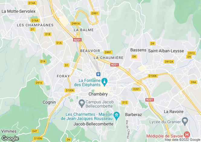 Map for chambery, Savoie, France