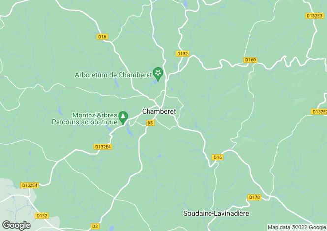 Map for chamberet, Corrèze, France