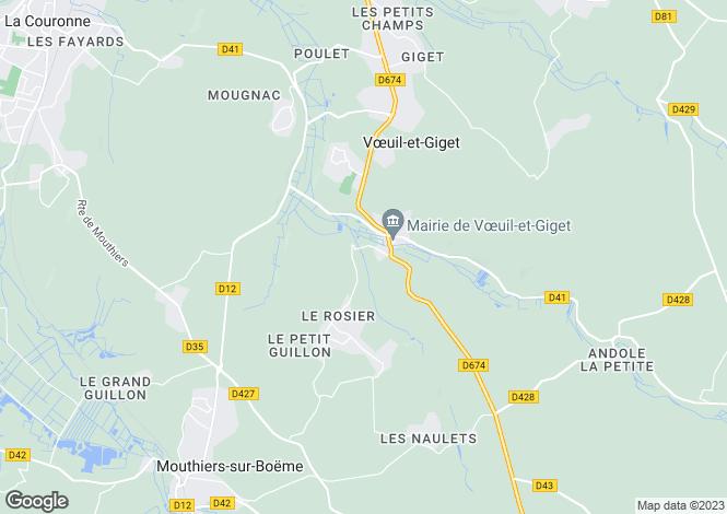 Map for voeuil-et-giget, Charente, France