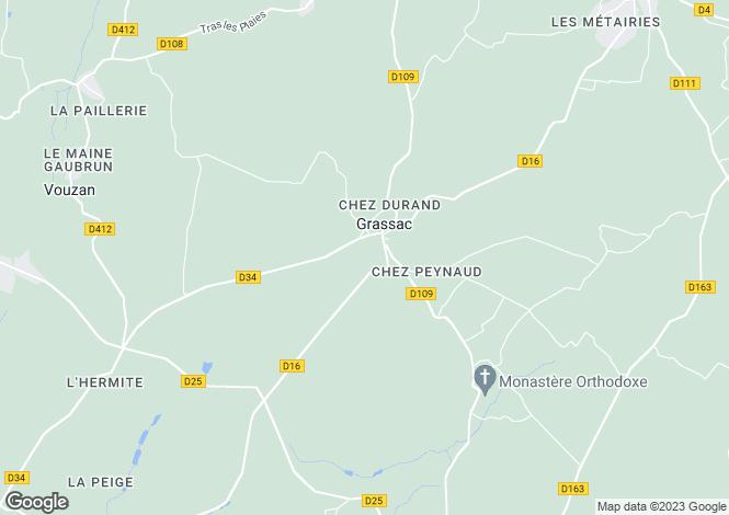 Map for Poitou-Charentes, Charente, Grassac