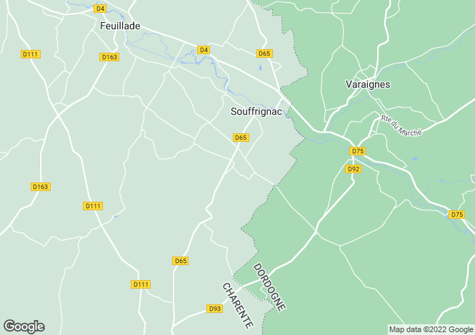 Map for souffrignac, Charente, France