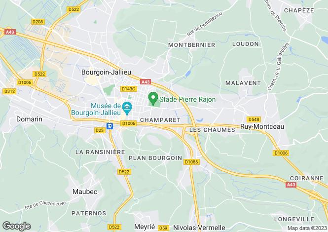 Map for bourgoin-jallieu, Isère, France