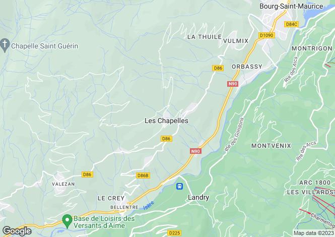 Map for Les Chapelles, Savoie, Rhone Alps