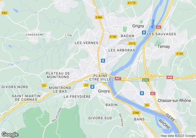 Map for Rhone Alps, Rhône, Givors