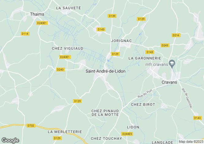 Map for Poitou-Charentes, Charente-Maritime, St-André-de-Lidon