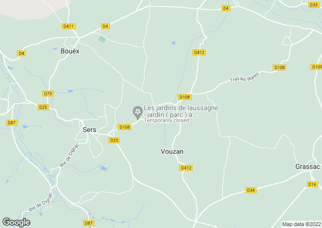 Map for vouzan, Charente, France