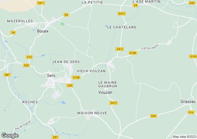 Map for Poitou-Charentes, Charente, Vouzan
