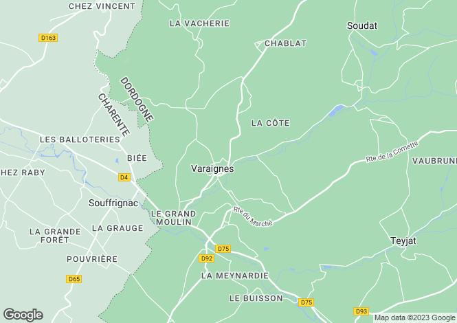 Map for Aquitaine, Dordogne, Varaignes