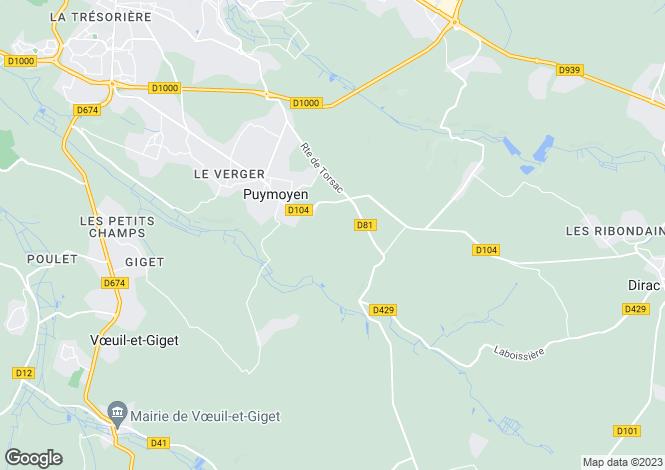 Map for puymoyen, Charente, France