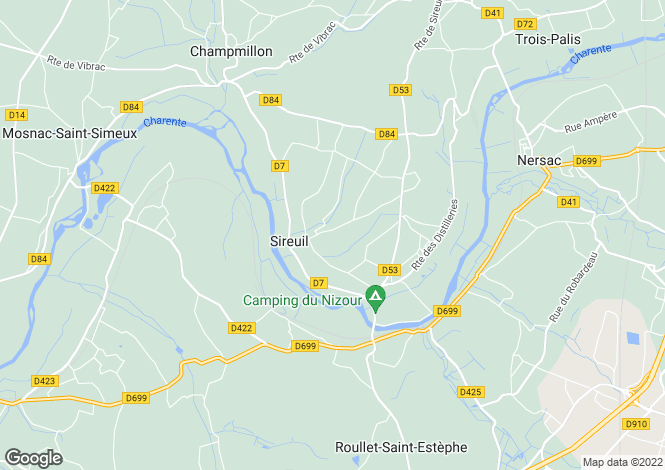 Map for sireuil, Charente, France