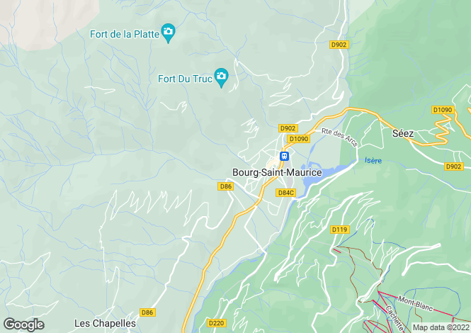 Map for Rhone Alps, Savoie, Bourg-St-Maurice