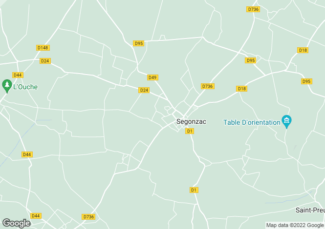 Map for segonzac, Charente, France