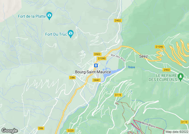 Map for Bourg-St-Maurice, Savoie, Rhone Alps