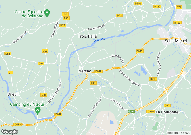 Map for nersac, Charente, France