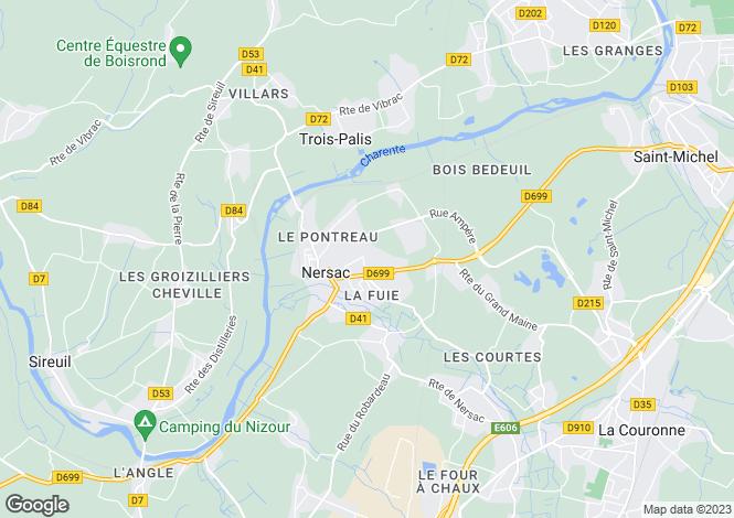 Map for Poitou-Charentes, Charente, Nersac