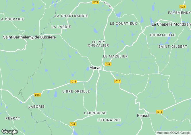 Map for Secteur: Marval, Haute-Vienne