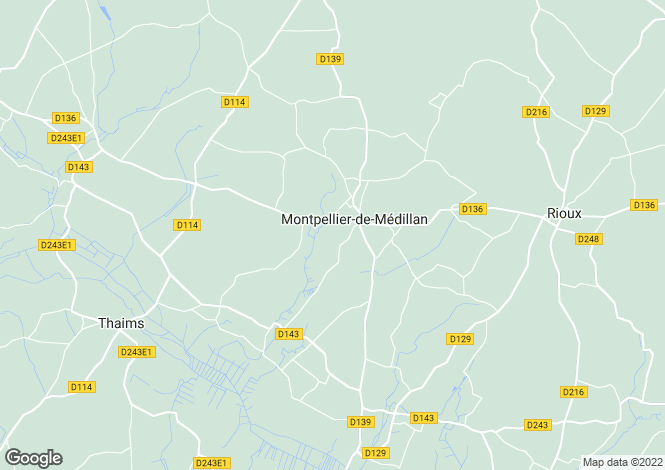 Map for Poitou-Charentes, Charente-Maritime, Montpellier-de-Médillan