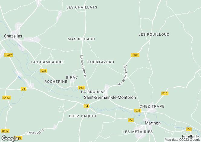Map for Poitou-Charentes, Charente, St-Germain-de-Montbron