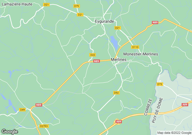 Map for merlines, Corrèze, France