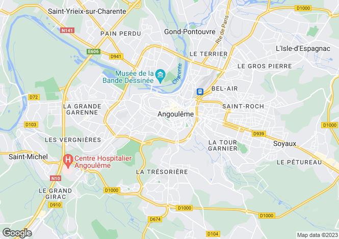 Map for Poitou-Charentes, Charente, Angoulême