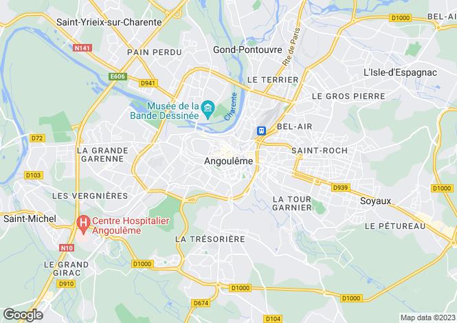 Map for France - Poitou-Charentes, Charente, Angoulême