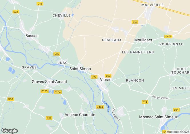 Map for vibrac, Charente, France
