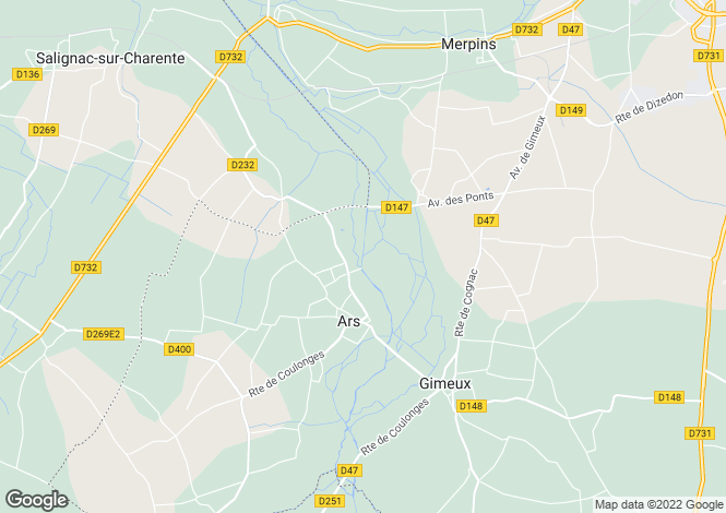 Map for ars, Charente, France