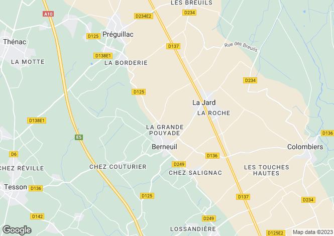 Map for near-saintes, Charente-Maritime, France