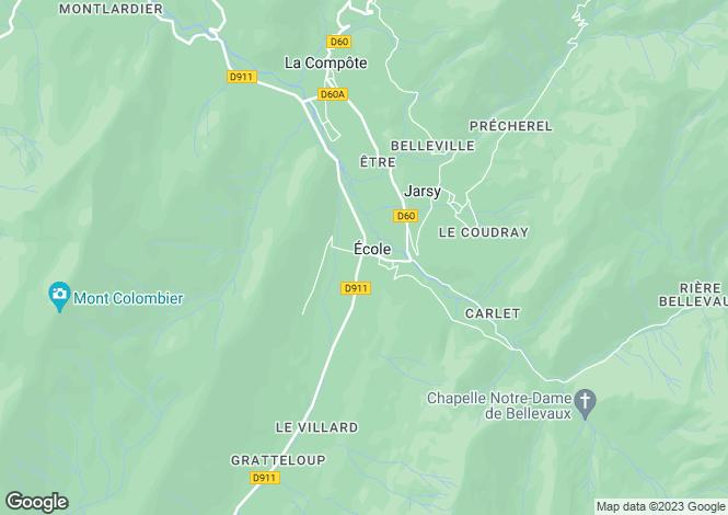Map for Rhone Alps, Savoie, École