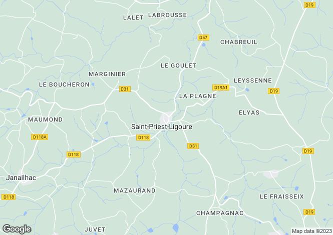 Map for st-priest-ligoure, Haute-Vienne, France