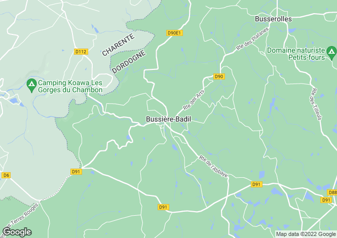 Map for Bussière-Badil, Dordogne, 24360, France