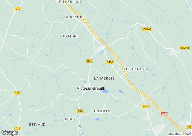 Map for Limousin, Haute-Vienne, Vicq-sur-Breuilh